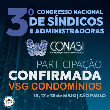 A VSG ESTARÁ PRESENTE NO 3º CONASI QUE SERÁ REALIZADO NA CIDADE DE SÃO PAULO