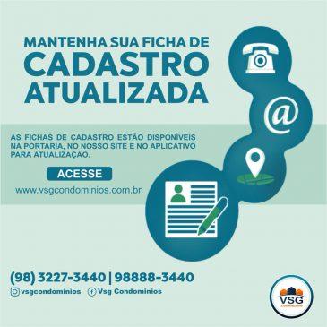 CONDÔMINOS, MANTENHAM AS FICHAS DE CADASTROS ATUALIZADAS