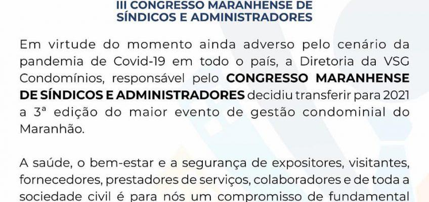A VSG CONDOMÍNIOS EMITE NOTA OFICIAL CANCELANDO O III CONGRESSO MARANHENSE DE SÍNDICOS E ADMINISTRADORES